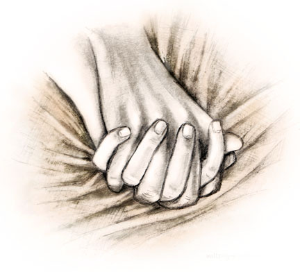 Begin Reading - Clasped lovers hands